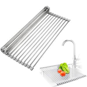 Roll up Silicon and Stainless Steel Folding Kitchen Rack For Saving Space -HV