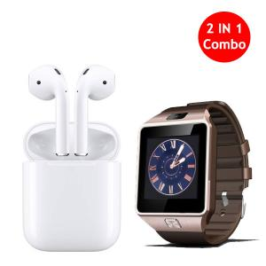 2 in 1 Bundle Offer Twin Bluetooth Headset With DZ09 Smart Watch-HV