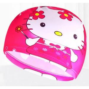 Children Cartoon Swimming Cap Rose Red Kitty Cat-HV