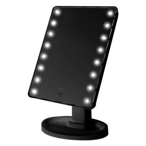 Touch Screen Make Up LED Mirror 360 Degree Rotation, Black-HV
