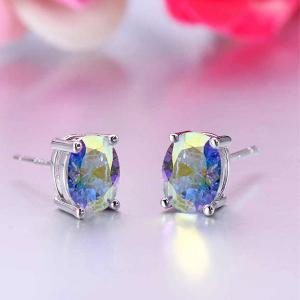 Silver Plated Round AAA Zircon Stud Earring For Women-HV