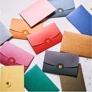 Colorful Heart Pearl Paper Envelopes for Party Invitations (10PCs/set 7*10.5CM)-HV