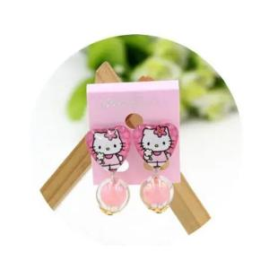 Childrens Cartoon Pierced Earrings Dark Pink -HV