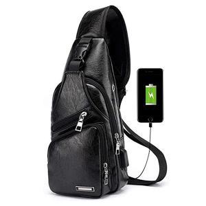 Casual Vintage Sling Bag Shoulder Messenger Crossbody Pack with USB Charge Port and Earphone Hole Black-HV