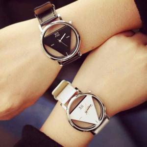 Unique Hollowed-out Triangular Dial Quartz Couple Watches, Assorted Color -HV
