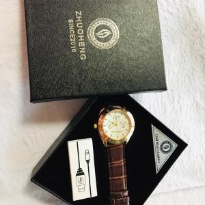USB Lighter Watch, Brown and Golden-HV