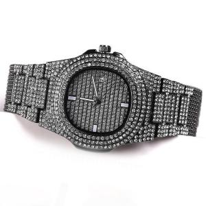 SIGNATURE COLLECTIONS Luxury Style Statement Iced Out Bling Quartz Watch Black-HV