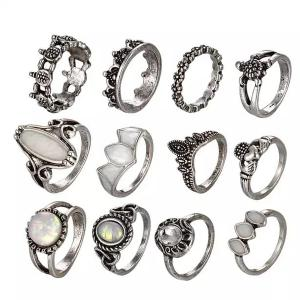 SIGNATURE COLLECTIONS Bohemian Style 12Pcs Pearl Rings-HV