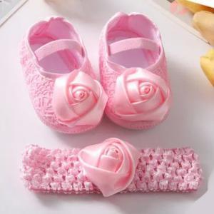 Rose Flower Baby Shoes Hairband Set-HV