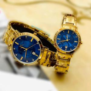 Galaxy Stainless steel Stylish Couple Watch, Gold/Blue-HV