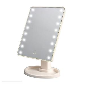 Touch Screen Make Up LED Mirror 360 Degree Rotation, White-HV