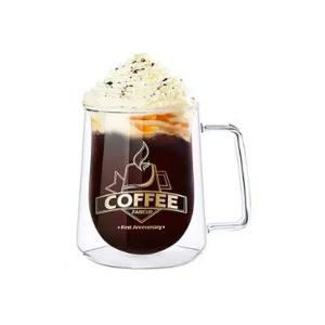 High Borosilicate Double Layer Square Transparent Coffee Cup Large-HV
