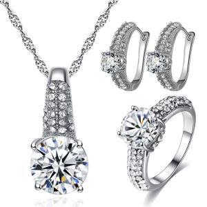 Signature Luxurious Fine Cut Zircon Jewellery Set (silver) ZR002-HV