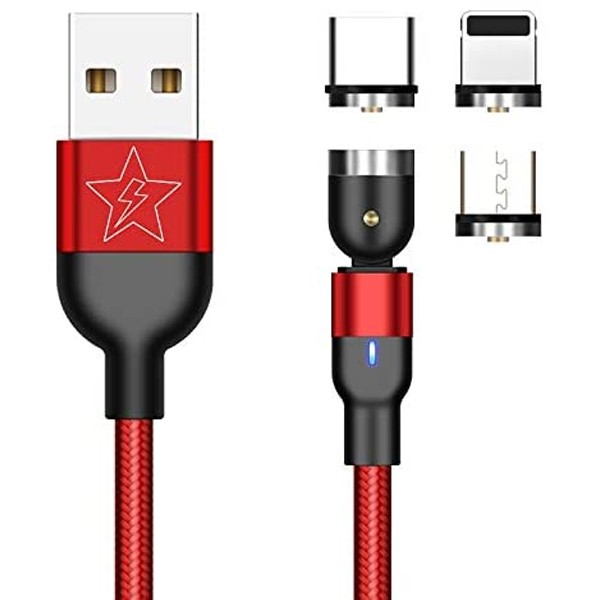GO SMART Magnetic 540 degree rotating 3 in 1 nylon charging cable with fast charging & Data transmission