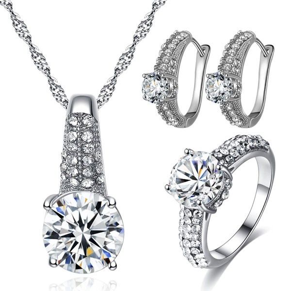 Signature Luxurious Fine Cut Zircon Jewellery Set (silver) ZR002