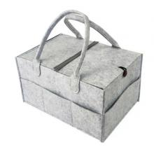 Baby Storage Basket Light Grey With Button And Cover-LSP