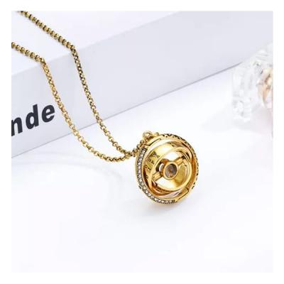 SIGNATURE COLLECTIONS Romantic Confession astronomical rotating spherical I love you in 100 languages projection necklace Gold-LSP