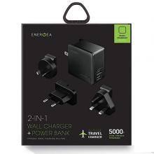 Energea CHR-TWP-5K34 Travelworld Power Bank  5000mAh, 2 USB Wall Charger 3.4A  Gunmetal-LSP