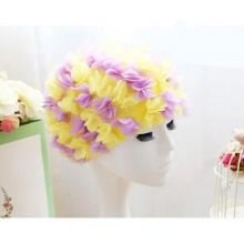 Womens Long Hair Flower Swimming Cap Yellow And Purple-LSP