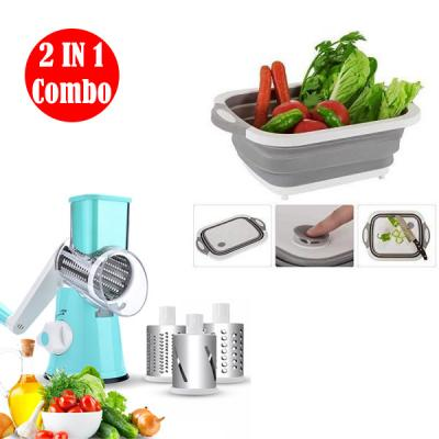 2 IN 1 Combo Home Care Stainless Steel 3 blade vegetable Slicer and Chopper With Home care 3 in 1 Collapsable Cutting board, Dish wash and Drain sink storage03