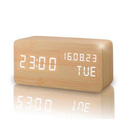 Wooden Finish Led Digital Clock High Quality Voice Control Multi Color Temperature-LSP