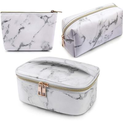 Marble design waterproof PU leather hand bag for ladies 3 pcs white-LSP