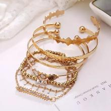 SIGNATURE COLLECTIONS Bohemian Style 7Pcs Gold Plated Adjustable Bracelets -LSP