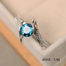 SIGNATURE COLLECTIONS Teal Blue Solitaire Ring SGR012-LSP