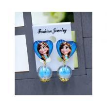 Childrens Cartoon Pierced Earrings Blue Anna-LSP