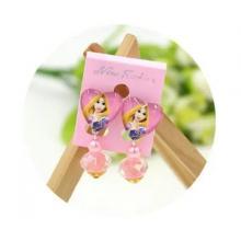Childrens Cartoon Pierced Earrings Long Hair Princess-LSP