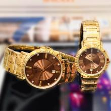 Galaxy Stainless steel Stylish Couple Watch, Gold/Brown-LSP