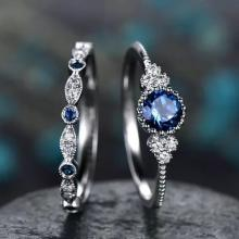 SIGNATURE COLLECTIONS SGR008 Romantic Confession Sapphire Blue Dual Rings03