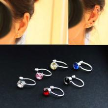 Clip On Earrings For Women 4mm Crystal Ear Cuff Jewelry Fake Piercing Zinc Alloy Ear Clips, Assorted Color-LSP
