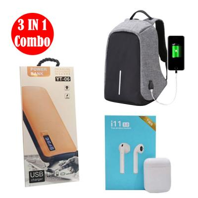 3 IN 1 Combo Anti Theft Shoulder Backpack With i11 Twin Bluetooth Headset with Charging Case And Power Bank YT-0603