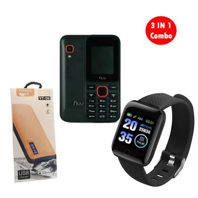 3 IN 1 Combo Smart Bracelet With NUU F2 Mobile Handset And Power Bank YT-0603
