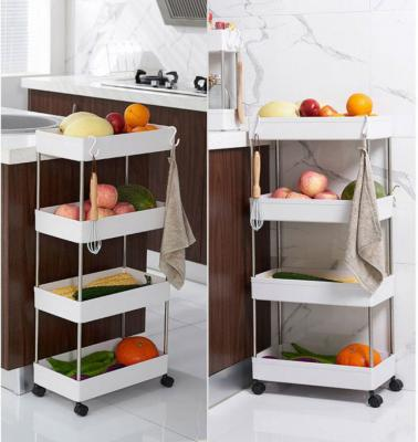 Trolley Storage rack-Narrow [3 layers]+[free 4 rounds + hook]white-40*13*62cm-LSP
