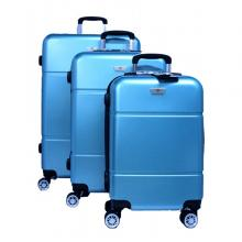 Platinum RA8729 4 Wheels Unbreakable Hard Travel Trolley Bag 3 Set, Blue-LSP