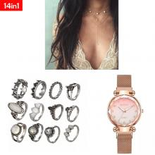 SIGNATURE COLLECTIONS 14 In 1 Bohemian Style Multi Layered Necklace Pearl Rings and Watch03
