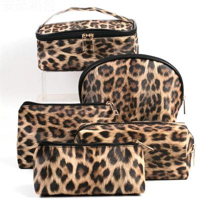 5 Pcs Leopard Design High quality Waterproof PU leather ladies hand bag set-LSP