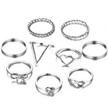 SIGNATURE COLLECTIONS Bohemian Style 9 Pcs Silver Plated Rings-LSP