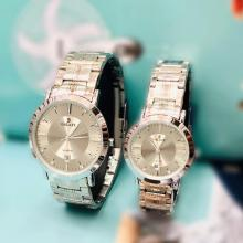 Galaxy Stainless steel Stylish Couple Watch, Silver-LSP