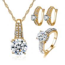 Signature Luxurious Fine Cut Zircon Jewellery Set ( golden) ZR003-LSP