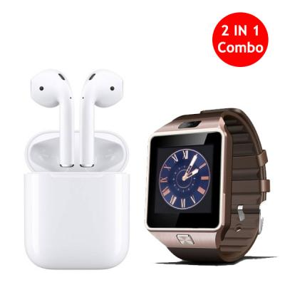 2 in 1 Bundle Offer Twin Bluetooth Headset With DZ09 Smart Watch-LSP