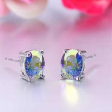 Silver Plated Round AAA Zircon Stud Earring For Women