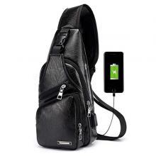 Casual Vintage Sling Bag Shoulder Messenger Crossbody Pack with USB Charge Port and Earphone Hole Black-LSP