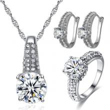 Signature Luxurious Fine Cut Zircon Jewellery Set (silver) ZR002