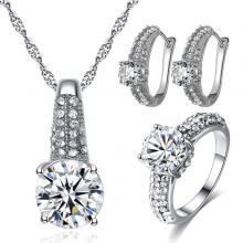 Signature Luxurious Fine Cut Zircon Jewellery Set (silver) ZR002-LSP