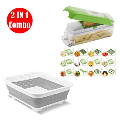 2 IN 1 combo Collapsible Dish Drainer with Draining Board And Home Care All in 1 vegetable and salad cutting tool03