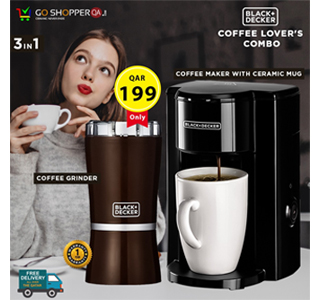 Black+Decker Coffee Lovers Combo Coffee Maker With Ceramic Mug And Coffee Grinder